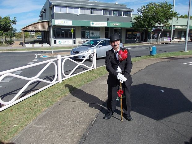 Street entertainer Ian Dinte dressed up as Charlie Chaplin for Valentine's Day in Hervey Bay.