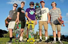 A video made by Caloundra teenagers (from left) Oscar Mitchell, George Warrener, Matt Stanyon, Jimmy Dale and Corey Walsh has been viewed 5.6 million times on YouTube.