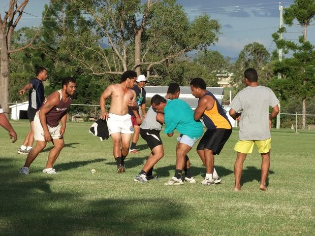 TRAINING HARD: Mundubbera's recently formed rugby union team is preparing for its first game - a charity match against Fraser Coast Mariners.