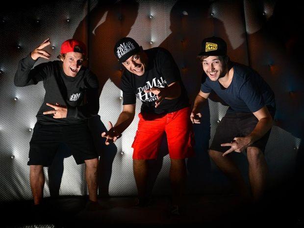 Brent Dorrington, Diablo V and Cory Fletcher get a little crazy at Neverlands Coolangatta.
