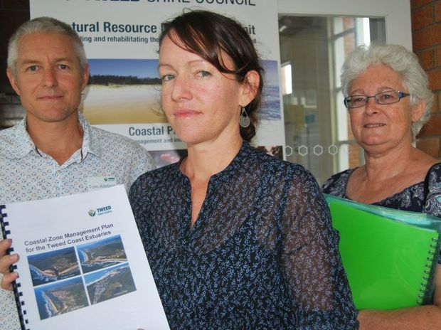 Tweed Shire Council's waterways program leader Tom Alleston with environmental scientist Katie Pratt and secretary of the Kingscliff Ratepayers and progress Association Julie Murray.