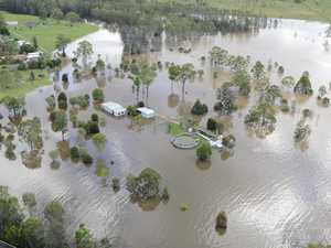 Flying Over Coutts Xing in flood