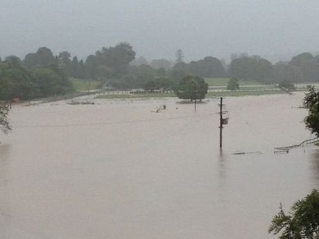 View of flood waters looking towards Dorrigo from Bellingen restaurant, Lodge 241.