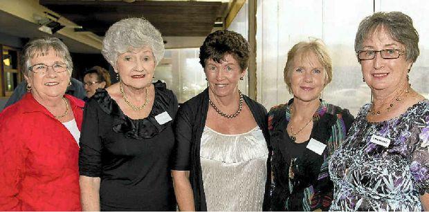 JUNIOR FARMERS: Enjoying the Junior Farmers' reunion at the Wilsonton Hotel are (from left) Janice Mason, Madalene Nolan, Mary Humphrey, Elizabeth Laine-Freier and Kathy Kennedy.