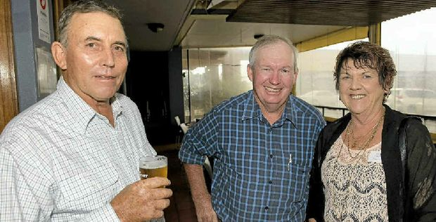 ALL SMILES: Sharing a laugh at the Mt Tyson Junior Farmers' reunion are (from left) John Dooley, Allan Petersen and Kay Greer.