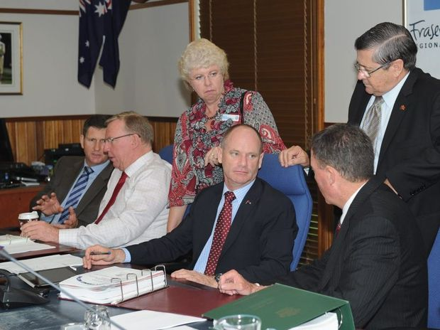 Health Minister Lawrence Springborg, Deputy Premier Jeff Seeney, Member for Maryborough Anne Maddern, Premier Campbell Newman, Member for Hervey Bay Ted Sorensen and Mayor Gerard O'Connell during the government ministers' two-day visit to the Fraser Coast.