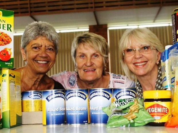 Mullumbimby Uniting Church food bank volunteers Mary Polidano, Anne Purdie and Sue Walker.