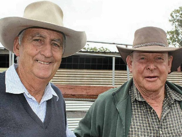 IN THE CROWD: Graeme Heath and Keith Belford from Stanthorpe at the Stanthorpe Cattle Sale.