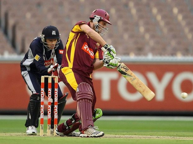 Jason Floros of the Bulls plays a shot during the Ryobi One Day Cup final match between the Victorian Bushrangers and the Queensland Bulls at Melbourne Cricket Ground on February 27, 2013 in Melbourne, Australia.