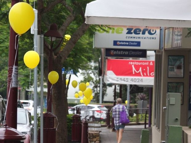 Balloons line the street at Buderim.