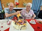 Stan and Daphne Burton celebrating their 75th wedding anniversary last year.