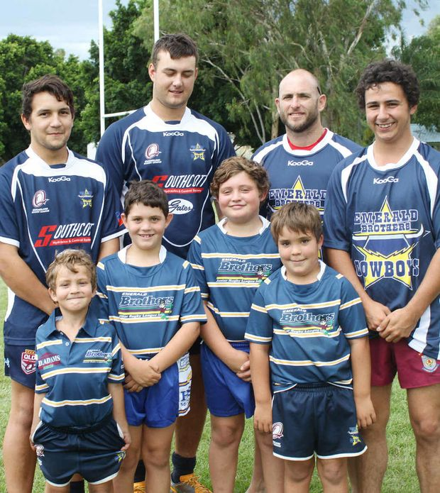 PLAYER DEVELOPMENT: Emerald Brothers Cowboys coach RJ Stewart with players from under-6 to U20.