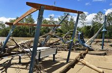 GONE UNDER: Recent flood damage to a picnic and children's play area at Colleges Crossing.