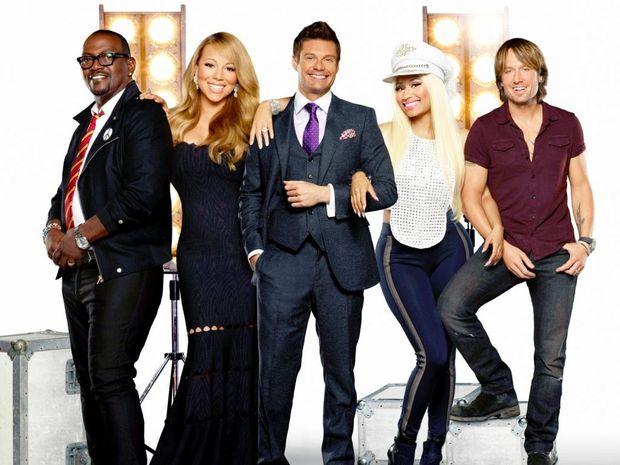 American Idol judges, from left, Randy Jackson, Mariah Carey, host Ryan Seacrest, Nicki Minaj and Keith Urban.