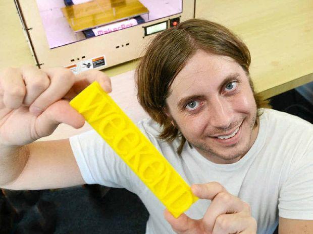 HOME MADE: Ivan Casselman and the MakerBot Replicator 3D printer.
