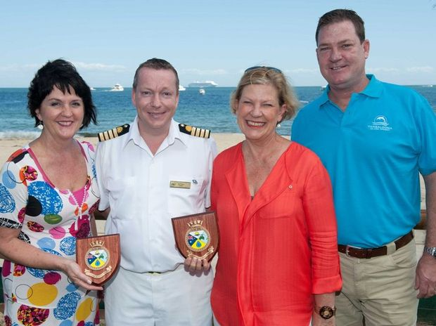 (L-R) Queensland Tourism Minister Jann Stuckey, Pacific Jewel Captain John Foster, Carnival Australia CEO Ann Sherry and Tangalooma Island Resort Director David James