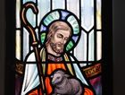The stained glass window of The Good Shepherd at St Pauls Anglican Church in Maryborough.