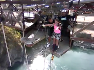 11-year-old Caitlyn bungee jumps