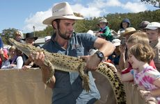 Garry Sippel with Desmond the crocodile at the Heritage Toowoomba Royal Show.