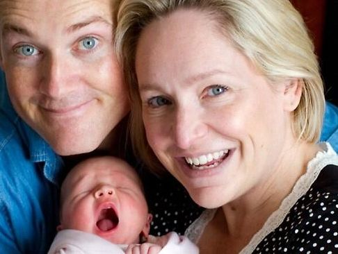 Fifi Box posted this picture on Twitter with her daughter Beatrix Belle and her co-host, Jules Lund.