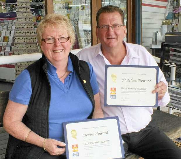 ROTARY RECOGNITION: Denise and Matthew Howard with their Maleny Rotary Paul Harris Fellowship awards.