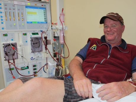Darren Thomas receives dialysis at the Toowoomba Hospital renal unit. He wants organ donation to be compulsory.