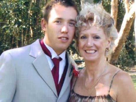 Todd Parnell and his mum, Jenny Stirling. Todd was killed outside the Bribie Island Rugby League club house in 2009.