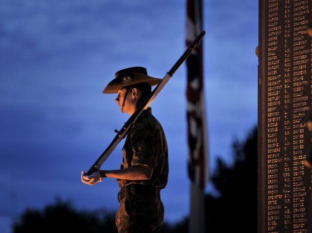 Anzac Day dawn service at the Mothers' Memorial in Toowoomba.