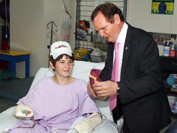 Ipswich Mayor Paul Pisasale visited Michael Boggan in hospital.