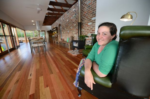 Esther James at her at her new sustainable living house in Ipswich.