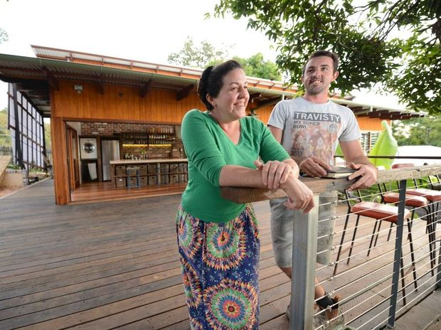 HOME SWEET HOME: Esther James and her brother David James, who helped build the house, at the sustainable living property.