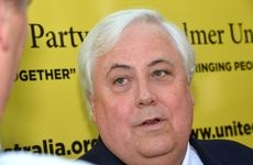 Clive Palmer answers questions at his Coolum resort.