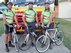 Justin Hiscock, Greg Barnett and Marty Harm are representing Monto Auxilliary Fire Station in Bike 4 Burns.