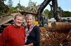 Geoff and Lexi Brown on site to watch their old pub at Uki get demolished. Photo: Blainey Woodham / Daily News