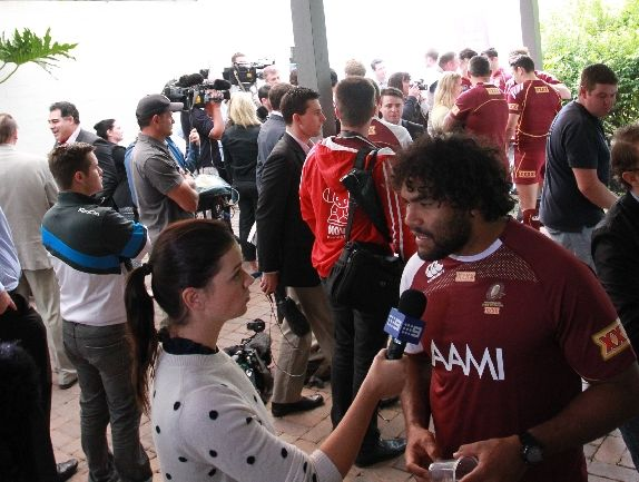 The Queensland State of Origin squad get up close and personal with journalists at a media conference at the Palmer Coolum Resort.
