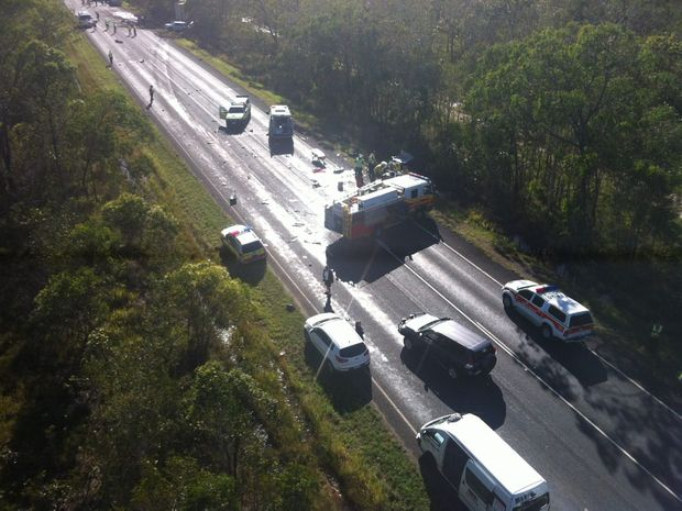 The scene of the four-vehicle crash on the Maryborough-Hervey Bay Rd at Dundathu from the air.