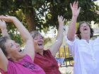(From left) Debbie Harris, Ruth Butts, Jill Julian, during a class of laughing yoga.