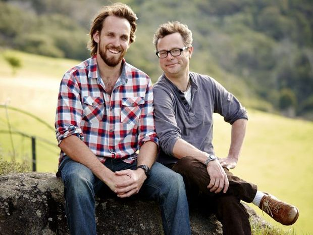 River Cottage Australia host Paul West, left, pictured with British River Cottage host Hugh Fearnley-Whittingstall.