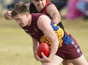 Luke Bianchi, Highfields and Ben Newman, Souths. AFL, Highfields vs South Toowoomba. Photo Nev Madsen / The Chronicle