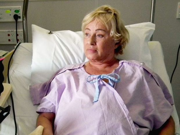Toni McRae in hospital after her double mastectomy in 2013.