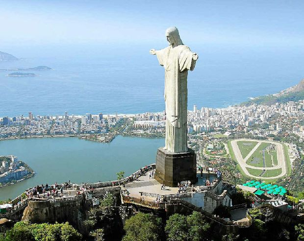 An awe-inspiring statue of Jesus Christ is perched atop of Corcovado Mountain in Rio.