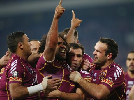 Sam Thaiday celebrates another Origin victory.