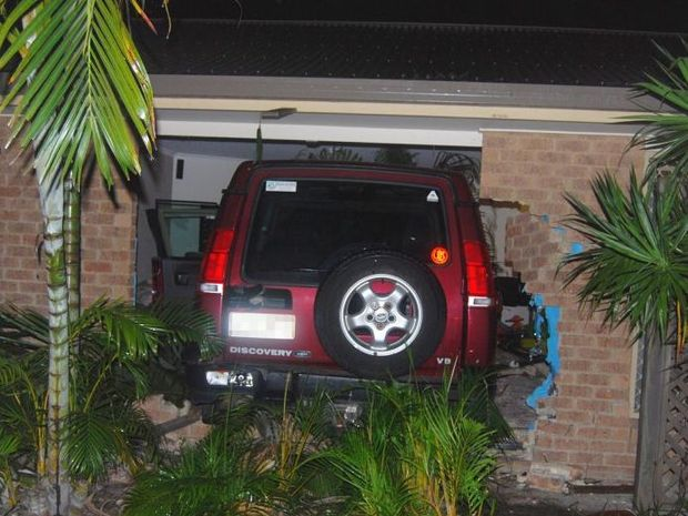 A four-wheel drive crashed through wall of house in Olive Crt, Pialba during State of Origin III.