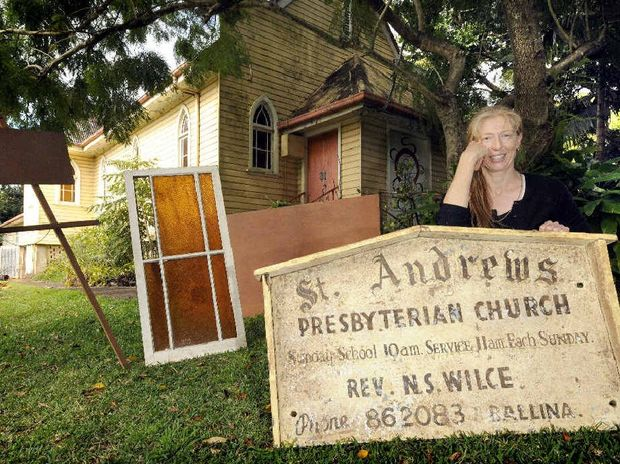 TREASURE TROVE: Sue Whiteman, owner of the old St Andrews Presbyterian Church in Alstonville, has come across some old treasures such as an old window, a portable stage and a number of easels, in a clean up under the building.