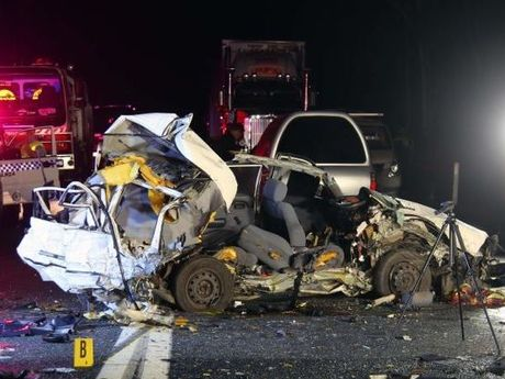 The scene of a fatal accident on the Pacific Hwy at Halfway Creek. Photo: Frank Redward