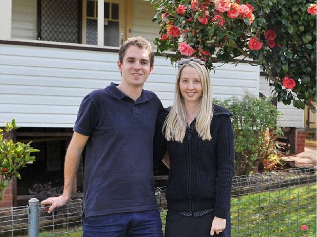 Jessie Wells and Damian Claffey have just bought their first home in East Lismore, and will be paying less in morgage than they were in rent.