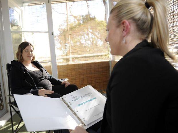 Pam Syposz (left) with hypnobirth practitioner Shari Lyon.