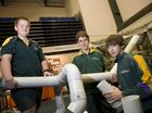 Centenary Heights SHS students (from left) Mitch Dunkley, Chris Elson and Sam Taylor tackle the time challenge to build a creature out of PVC downpipe.