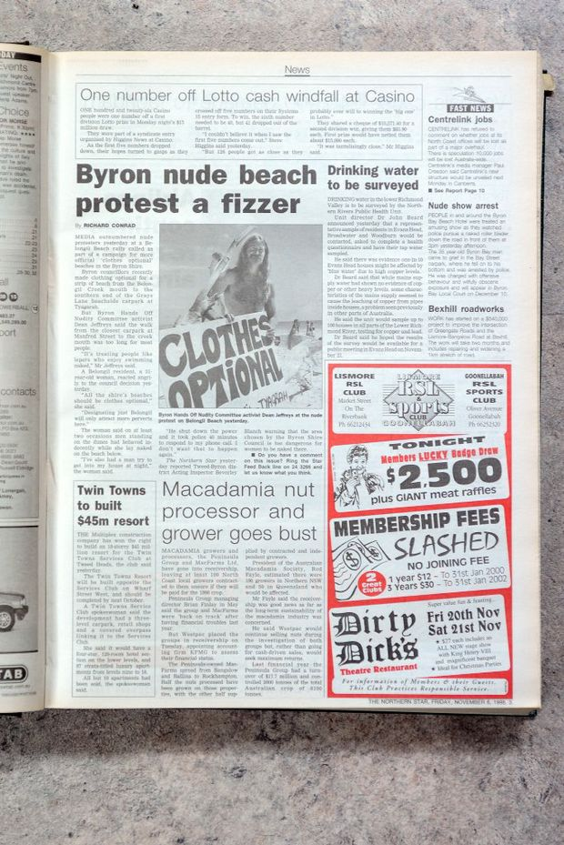 Tearsheet, nude beach protest, November 6th, 1998.