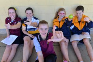 Left handed students Alisha Benson, Tish Smith, Zahra Lawson, Mikeal Bobart, Nick McKenzie.